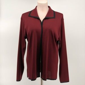 Exclusively Misook Open Front Cardigan Maroon
